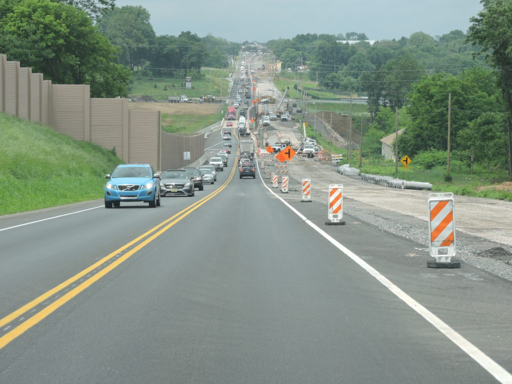 Traffic has shifted onto the new eastbound pavement
